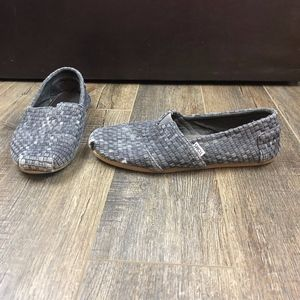 Toms Gray Woven Shoes Slip On Flats   10.5 M